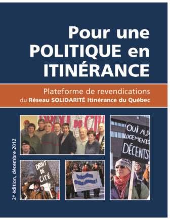 Plateforme de revendications du RSIQ avant l'adoption au Québec, en 2014, d'une Politique nationale de lutte contre l'itinérance
